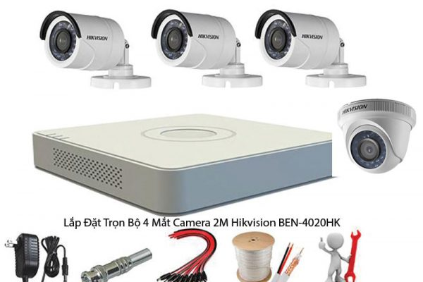 Lắp Đặt Trọn Bộ 4 Mắt Camera 2M Hikvision BEN-4020HK